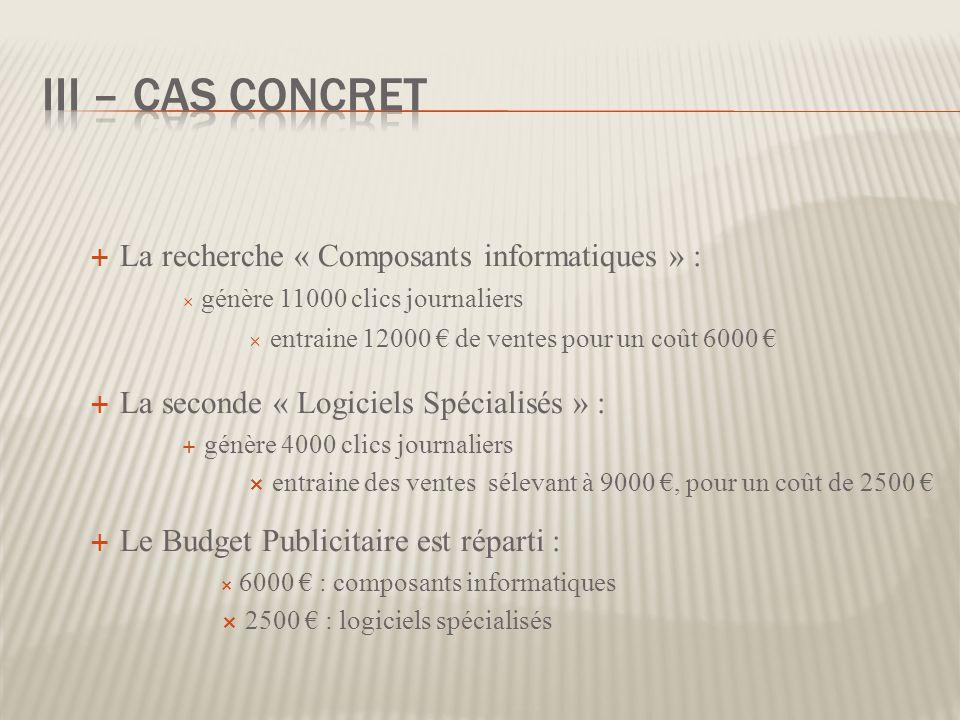III – Cas concret La recherche « Composants informatiques » :