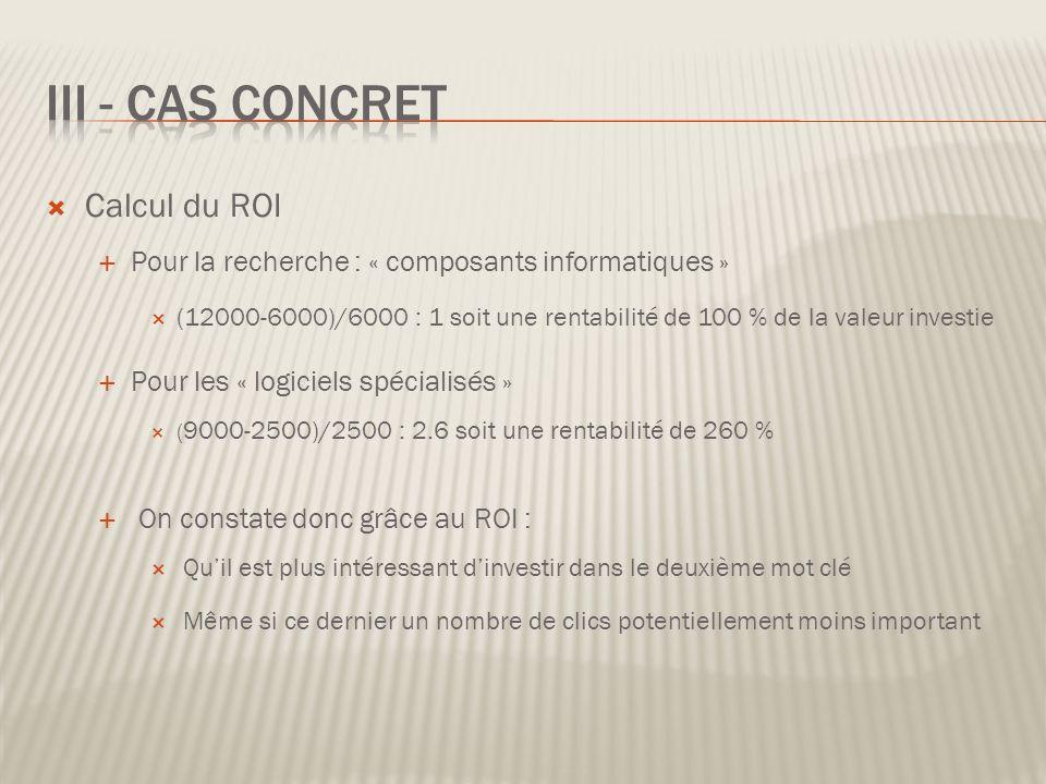 III - Cas Concret Calcul du ROI