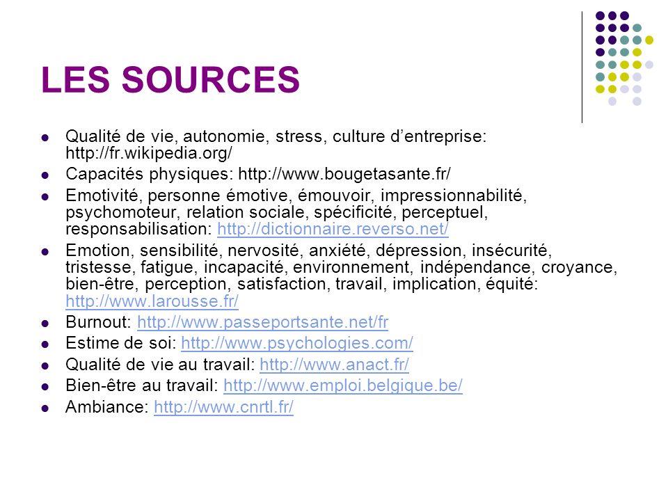 LES SOURCES Qualité de vie, autonomie, stress, culture d'entreprise: http://fr.wikipedia.org/ Capacités physiques: http://www.bougetasante.fr/