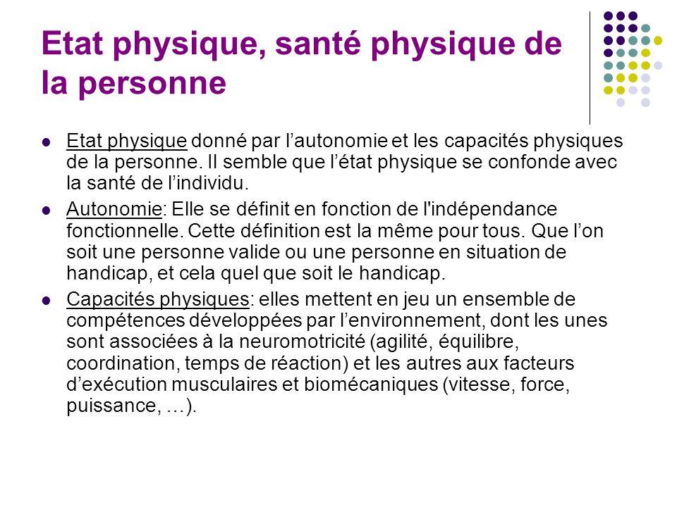 Etat physique, santé physique de la personne