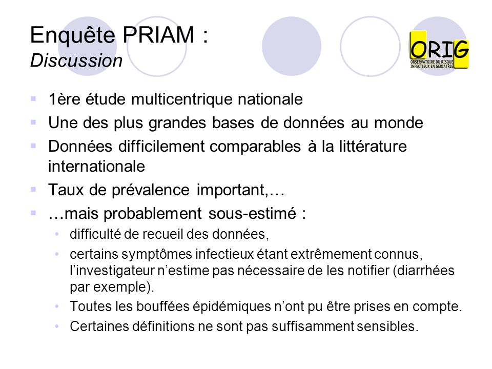 Enquête PRIAM : Discussion