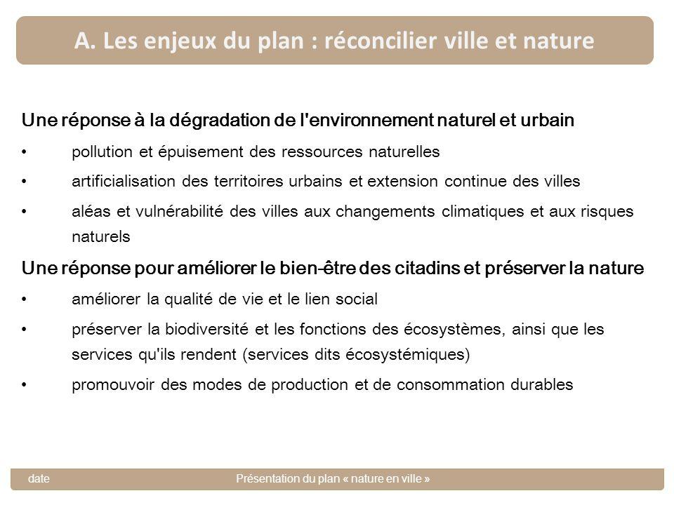 A. Les enjeux du plan : réconcilier ville et nature