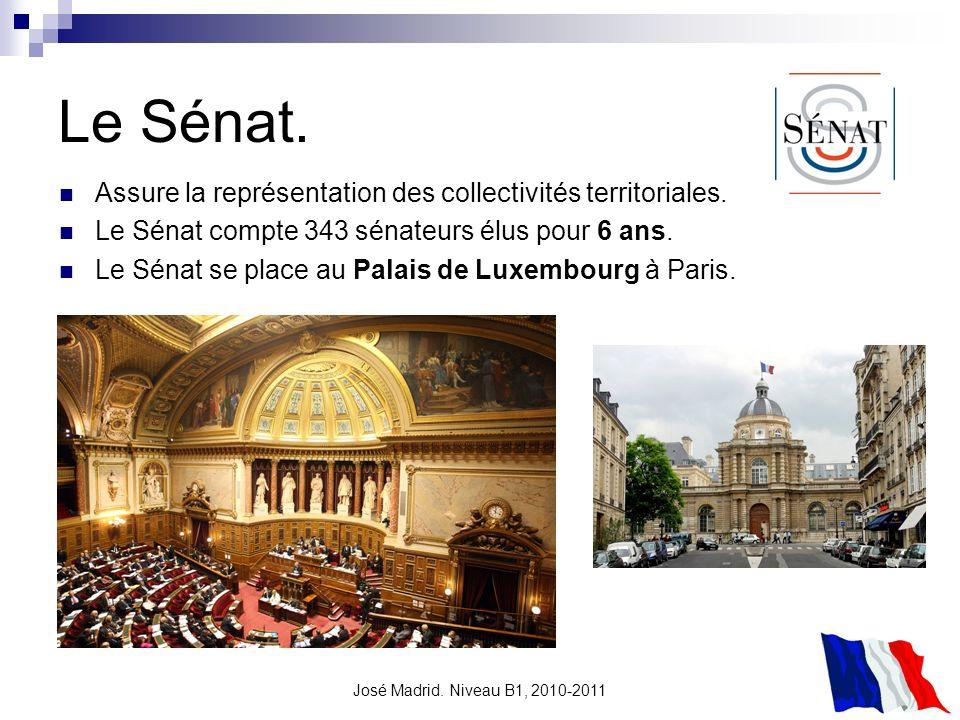 Le Sénat. Assure la représentation des collectivités territoriales.