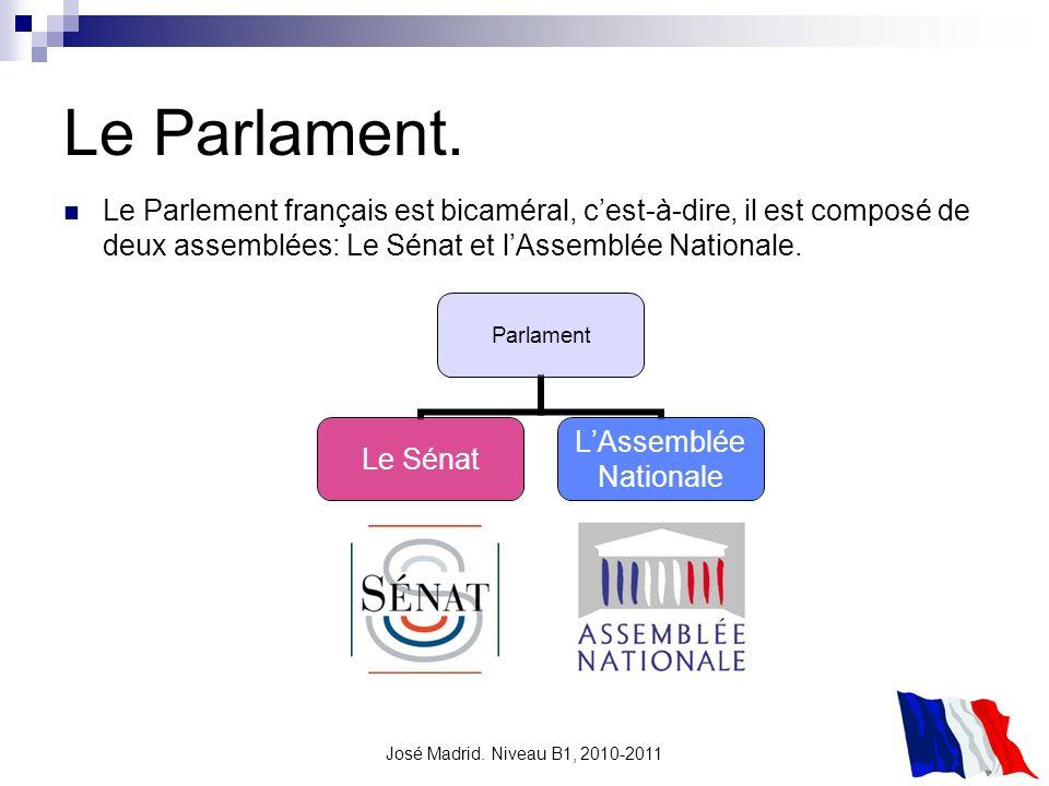 Le Parlament. Le Parlement français est bicaméral, c'est-à-dire, il est composé de deux assemblées: Le Sénat et l'Assemblée Nationale.
