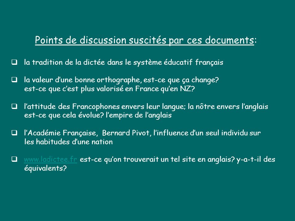 Points de discussion suscités par ces documents:
