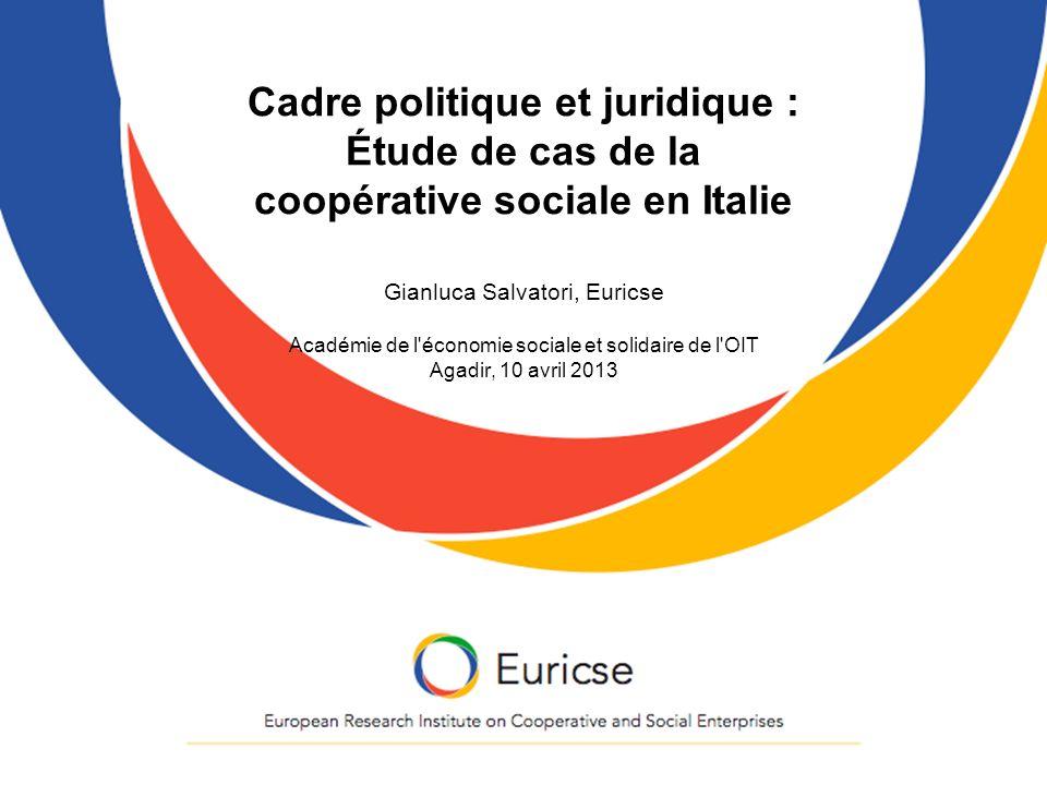 Cadre politique et juridique : Étude de cas de la coopérative sociale en Italie