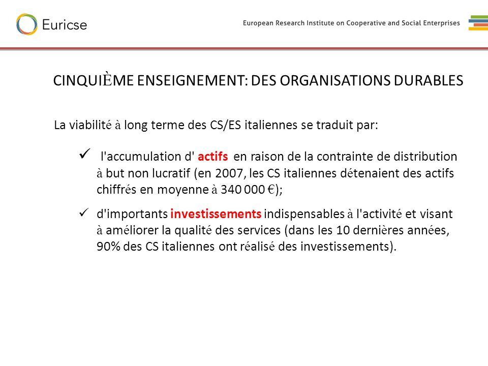 CINQUIÈME ENSEIGNEMENT: DES ORGANISATIONS DURABLES