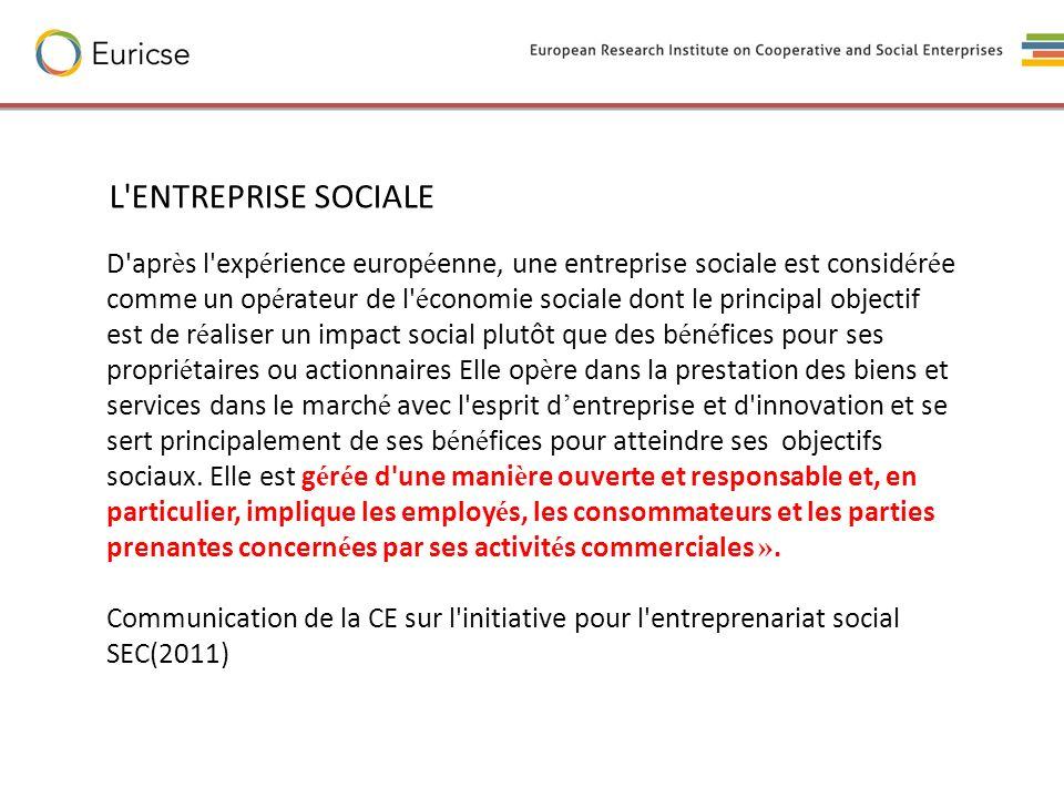 L ENTREPRISE SOCIALE