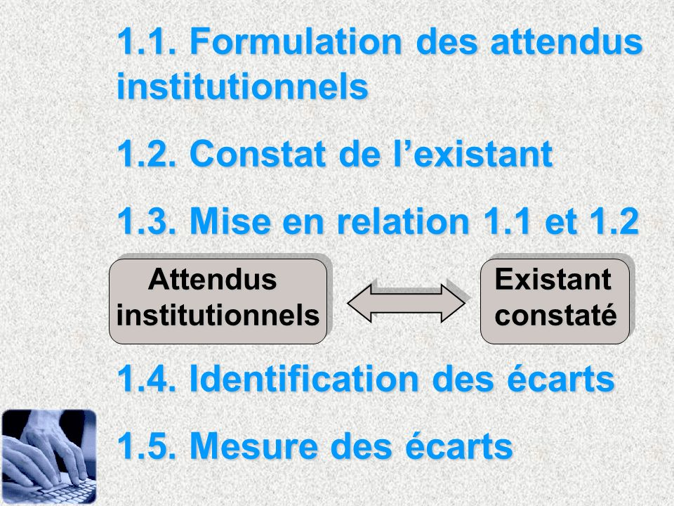 1.1. Formulation des attendus institutionnels