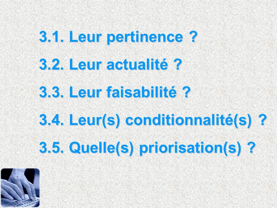 3.1. Leur pertinence 3.2. Leur actualité 3.3. Leur faisabilité 3.4. Leur(s) conditionnalité(s)