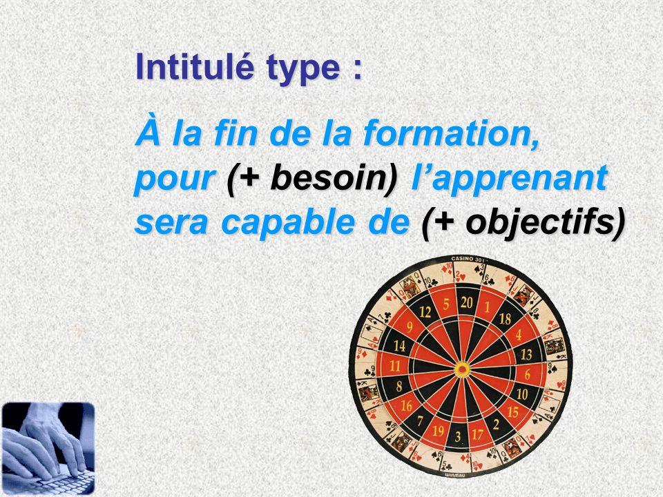Intitulé type : À la fin de la formation, pour (+ besoin) l'apprenant sera capable de (+ objectifs)