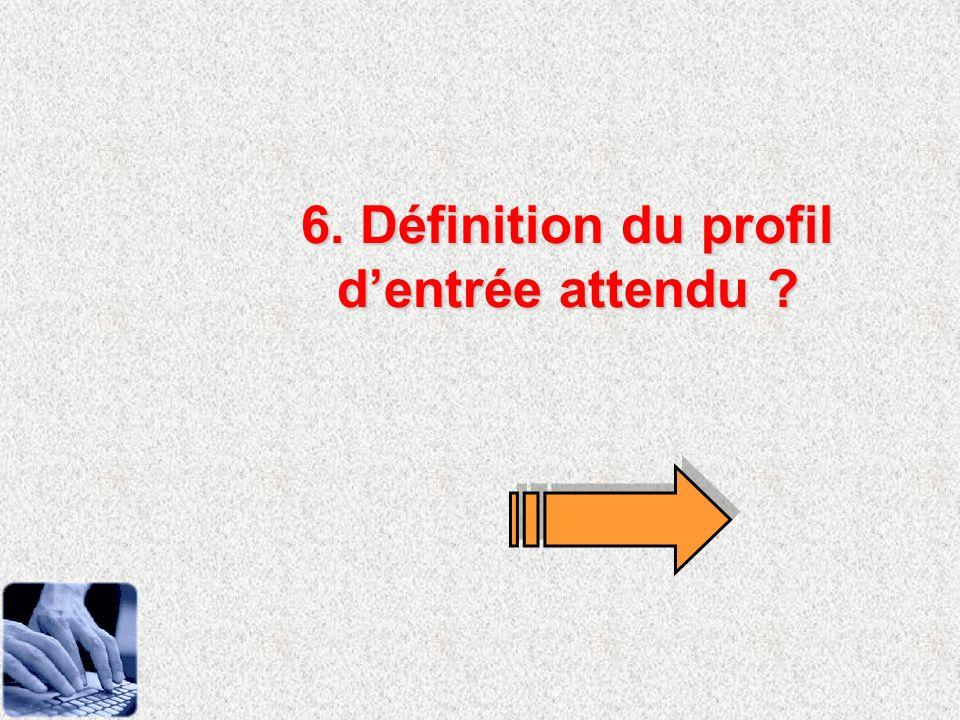 6. Définition du profil d'entrée attendu