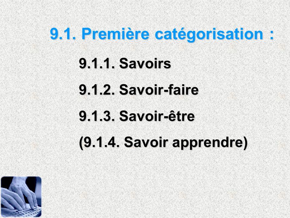 9.1. Première catégorisation : 9.1.1. Savoirs
