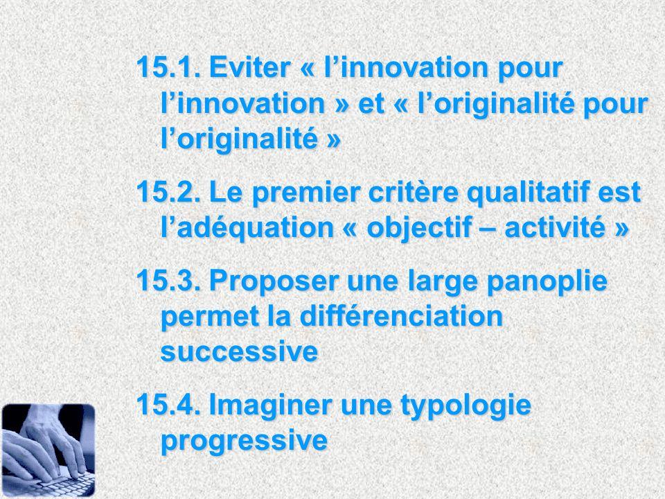 15.1. Eviter « l'innovation pour l'innovation » et « l'originalité pour l'originalité »
