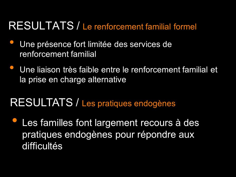 RESULTATS / Le renforcement familial formel