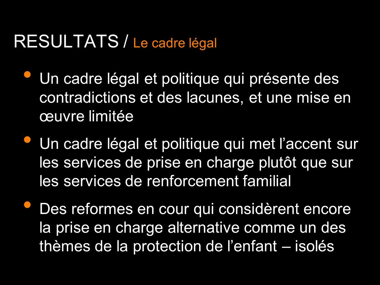 RESULTATS / Le cadre légal