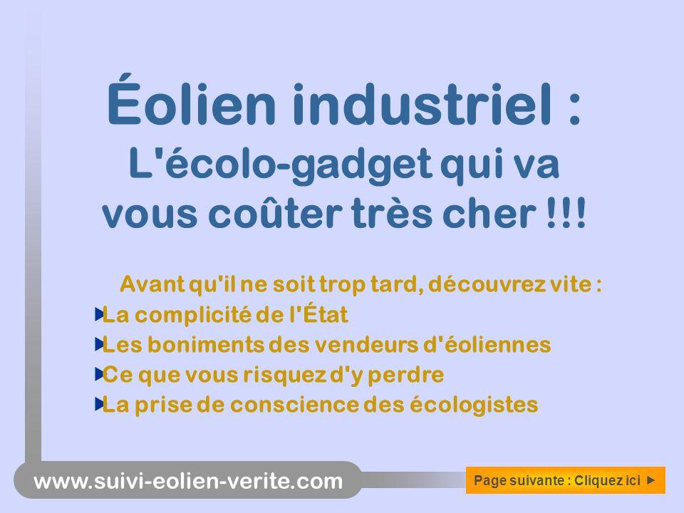 Éolien industriel : L écolo-gadget qui va vous coûter très cher !!!