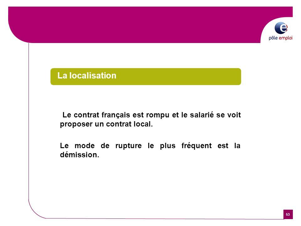La localisationLe contrat français est rompu et le salarié se voit proposer un contrat local.