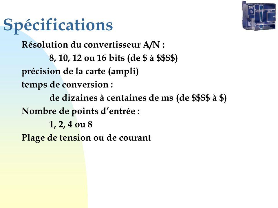 Spécifications Résolution du convertisseur A/N :