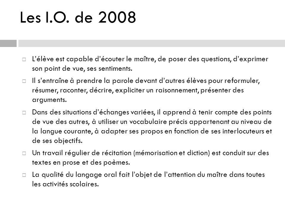 Les I.O. de 2008 L'élève est capable d'écouter le maître, de poser des questions, d'exprimer son point de vue, ses sentiments.