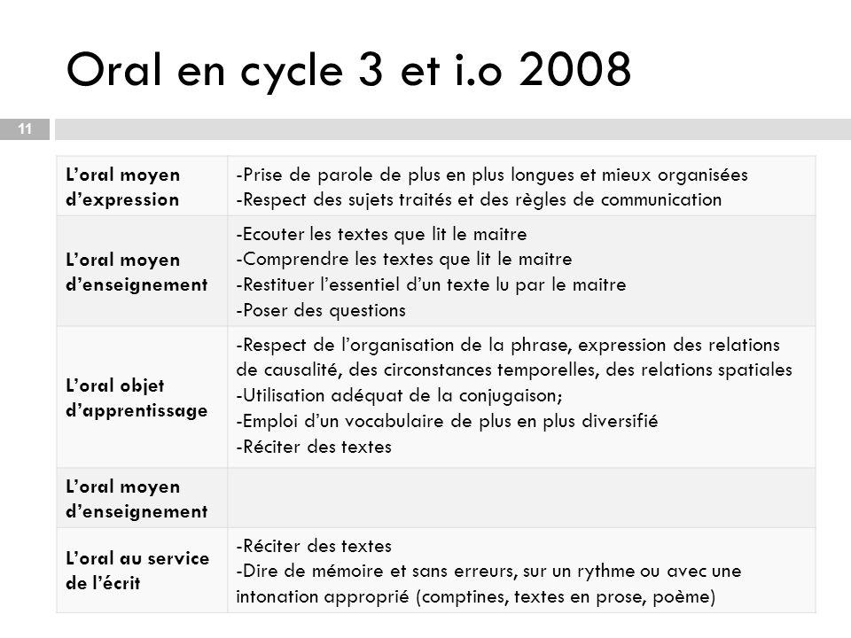 Oral en cycle 3 et i.o 2008 L'oral moyen d'expression