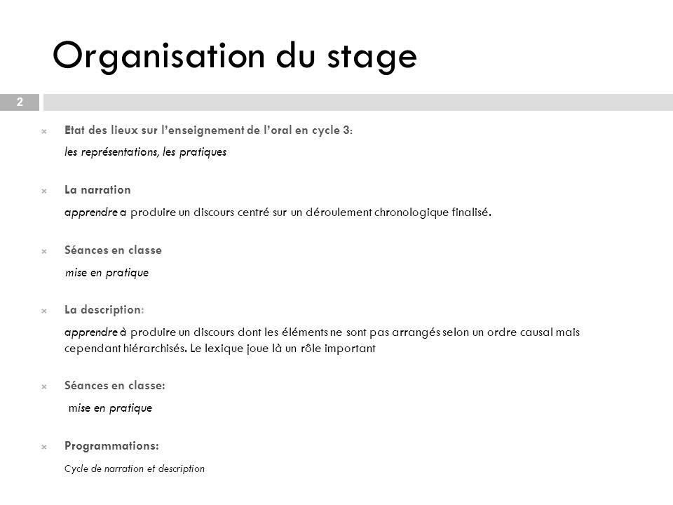 Organisation du stage Etat des lieux sur l'enseignement de l'oral en cycle 3: les représentations, les pratiques.