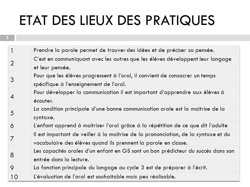 ETAT DES LIEUX DES PRATIQUES