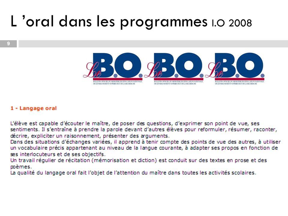 L 'oral dans les programmes I.O 2008