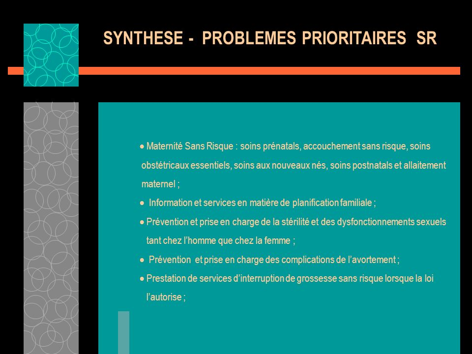 SYNTHESE - PROBLEMES PRIORITAIRES SR