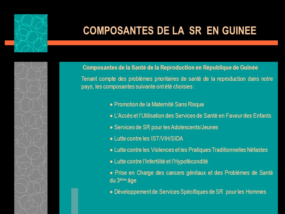COMPOSANTES DE LA SR EN GUINEE