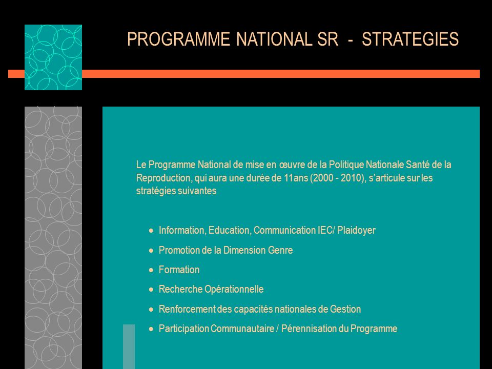 PROGRAMME NATIONAL SR - STRATEGIES