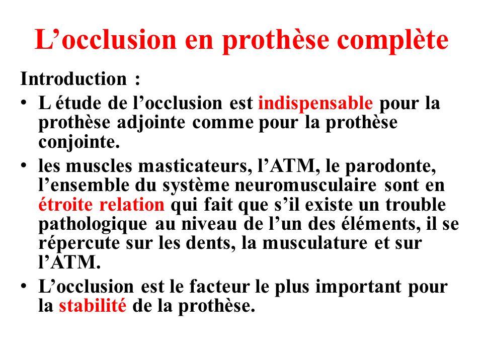 L'occlusion en prothèse complète