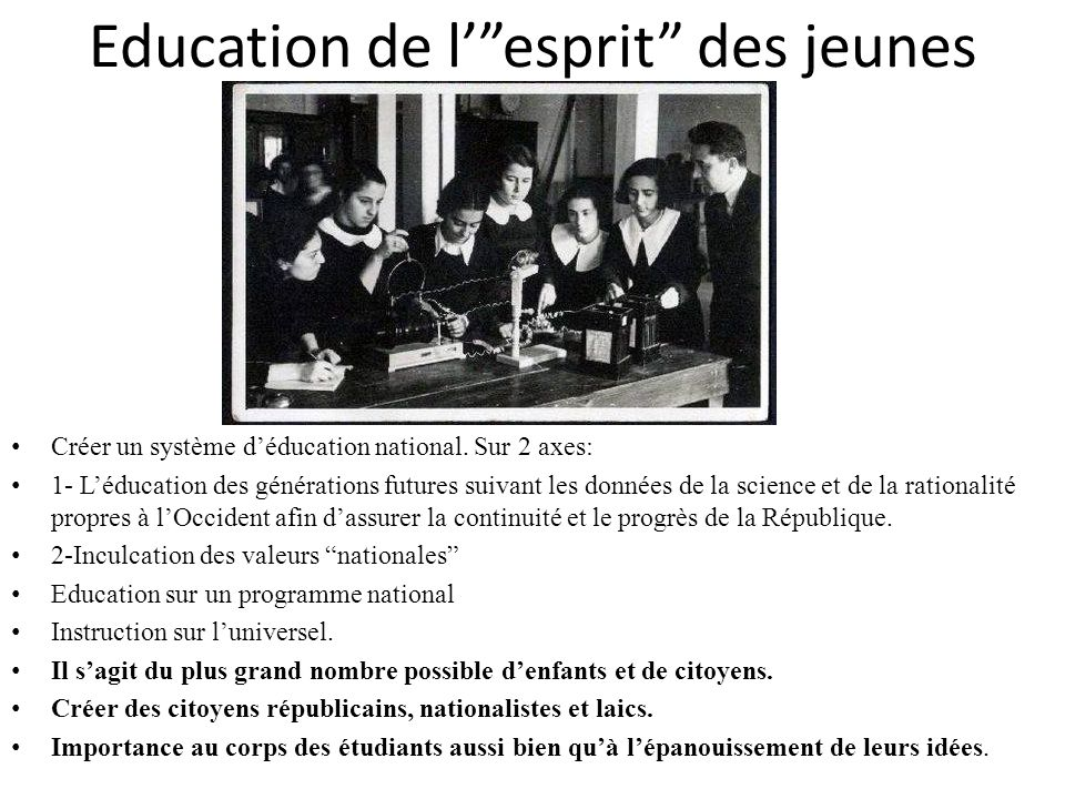 Education de l' esprit des jeunes