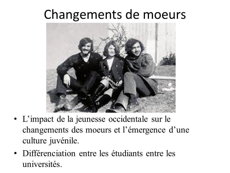 Changements de moeurs L'impact de la jeunesse occidentale sur le changements des moeurs et l'émergence d'une culture juvénile.