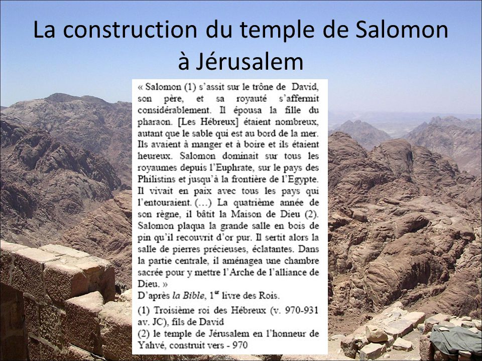 La construction du temple de Salomon à Jérusalem