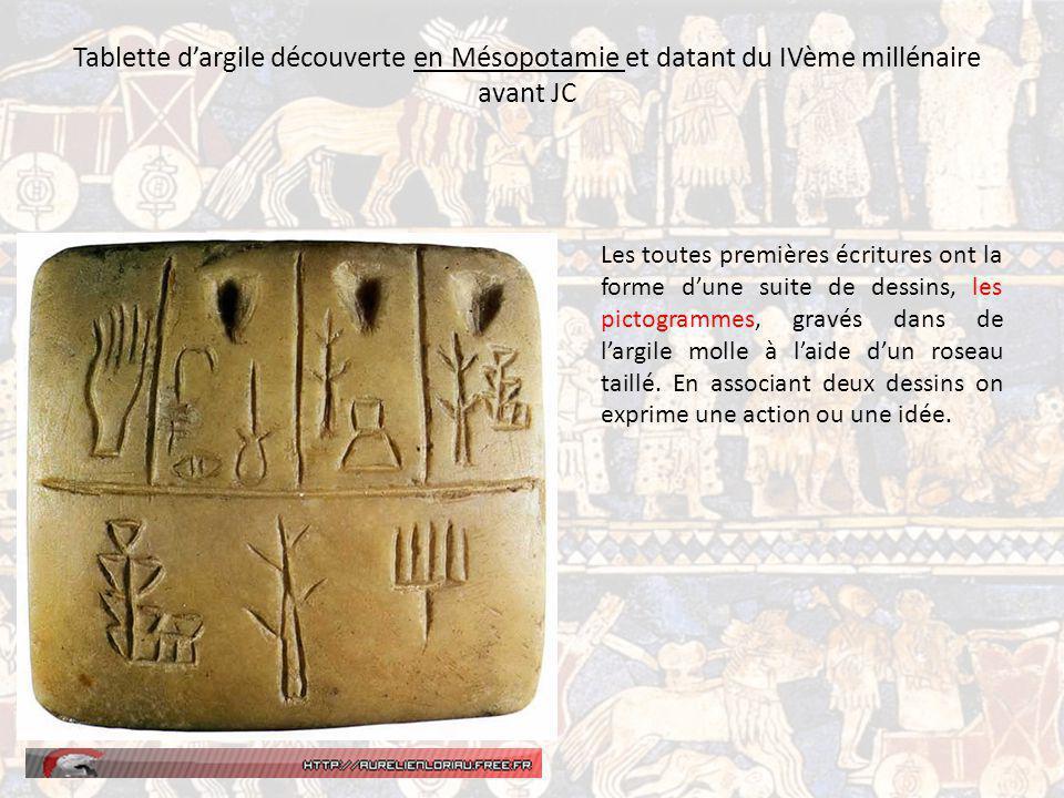 Tablette d'argile découverte en Mésopotamie et datant du IVème millénaire avant JC
