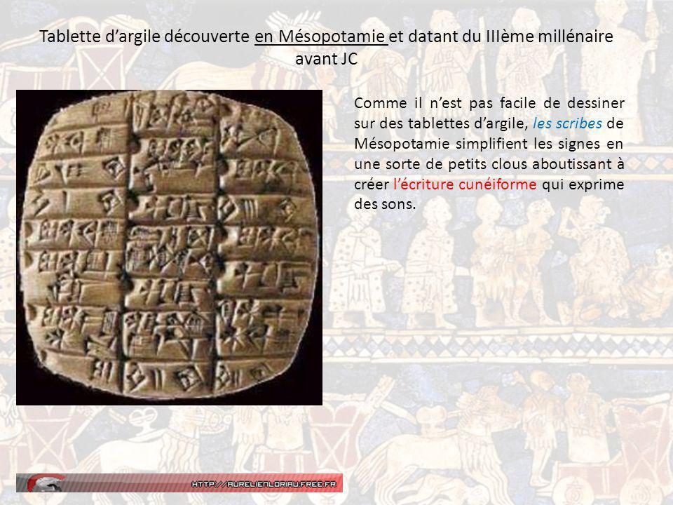 Tablette d'argile découverte en Mésopotamie et datant du IIIème millénaire avant JC