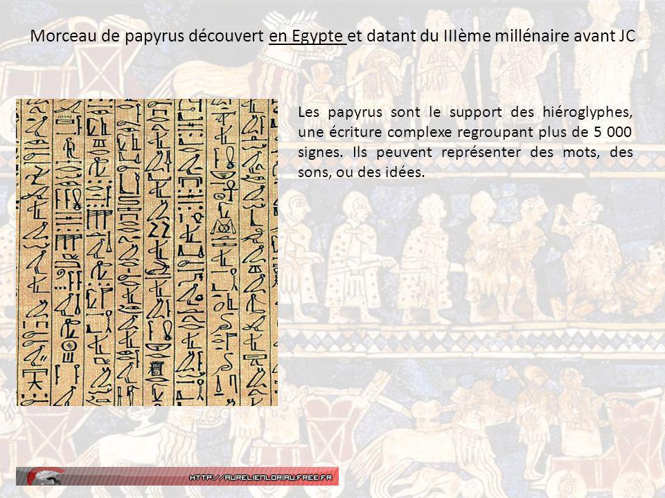 Morceau de papyrus découvert en Egypte et datant du IIIème millénaire avant JC