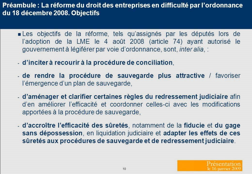 Préambule : La réforme du droit des entreprises en difficulté par l'ordonnance du 18 décembre 2008. Objectifs