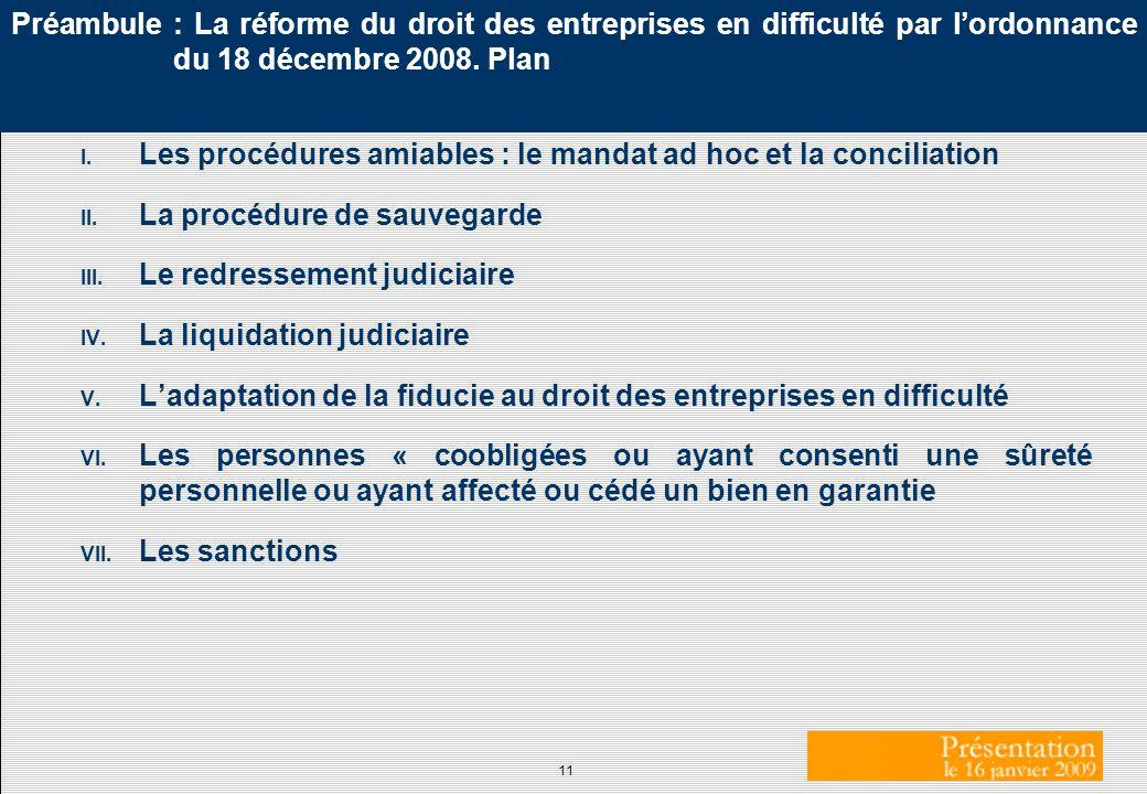 Préambule : La réforme du droit des entreprises en difficulté par l'ordonnance du 18 décembre 2008. Plan