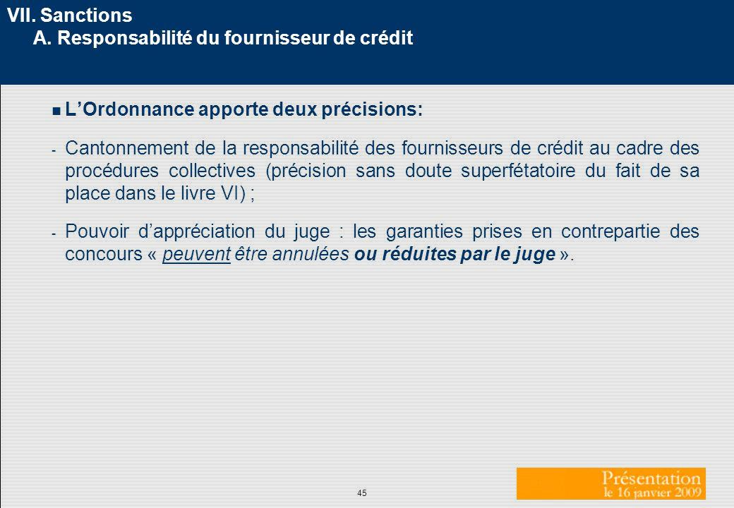 VII. Sanctions A. Responsabilité du fournisseur de crédit