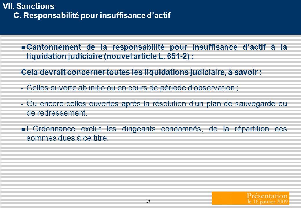 VII. Sanctions C. Responsabilité pour insuffisance d'actif