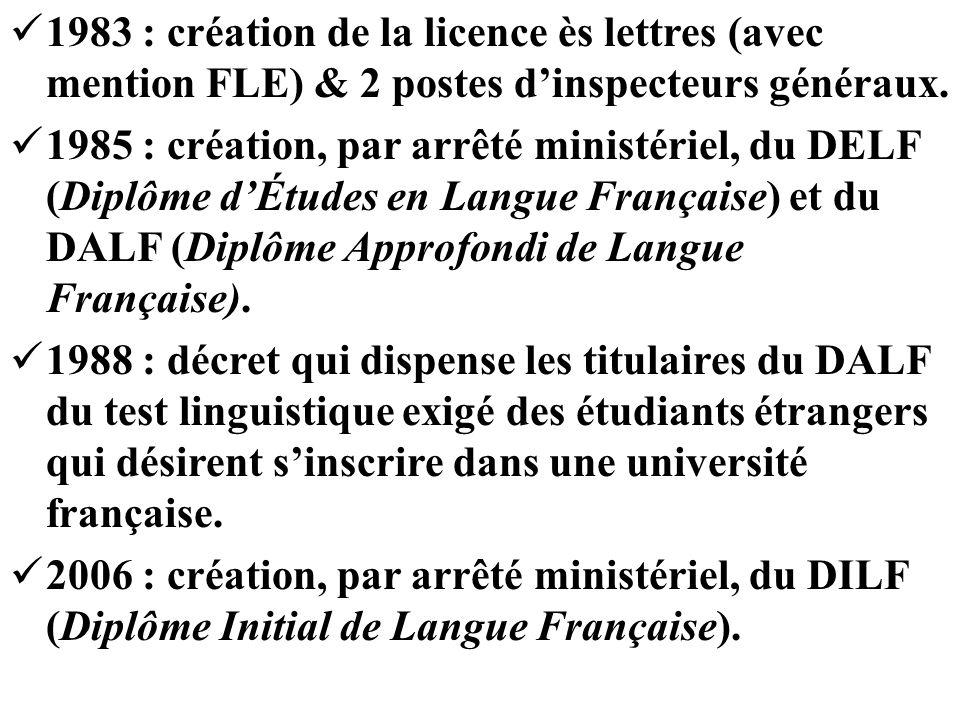 1983 : création de la licence ès lettres (avec mention FLE) & 2 postes d'inspecteurs généraux.