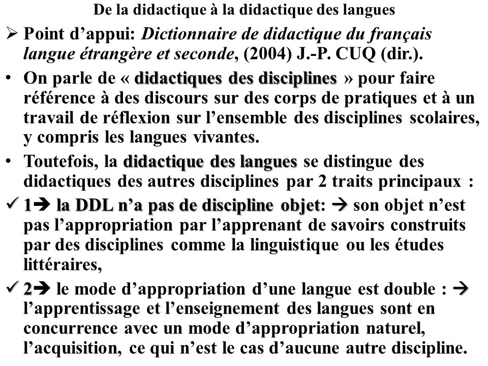 De la didactique à la didactique des langues
