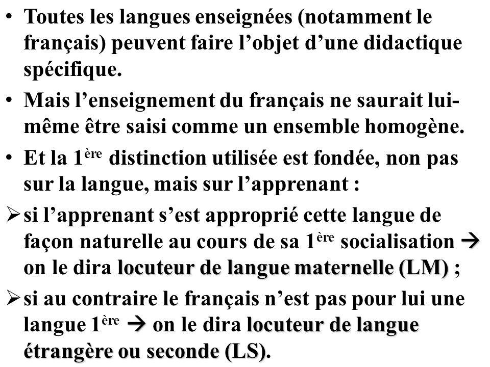 Toutes les langues enseignées (notamment le français) peuvent faire l'objet d'une didactique spécifique.