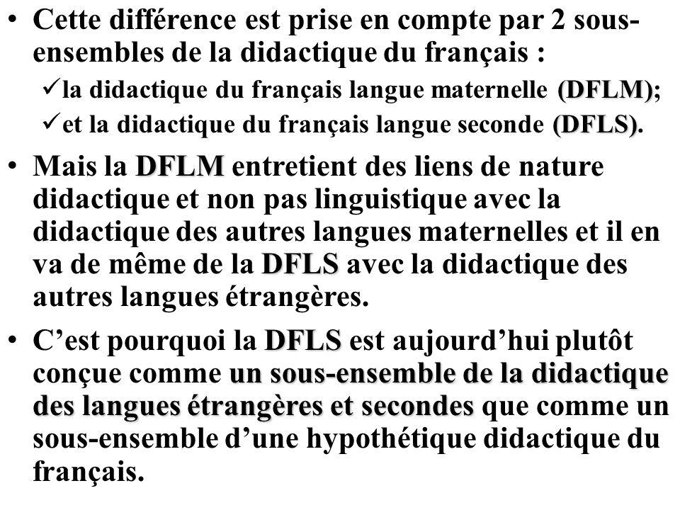 Cette différence est prise en compte par 2 sous-ensembles de la didactique du français :