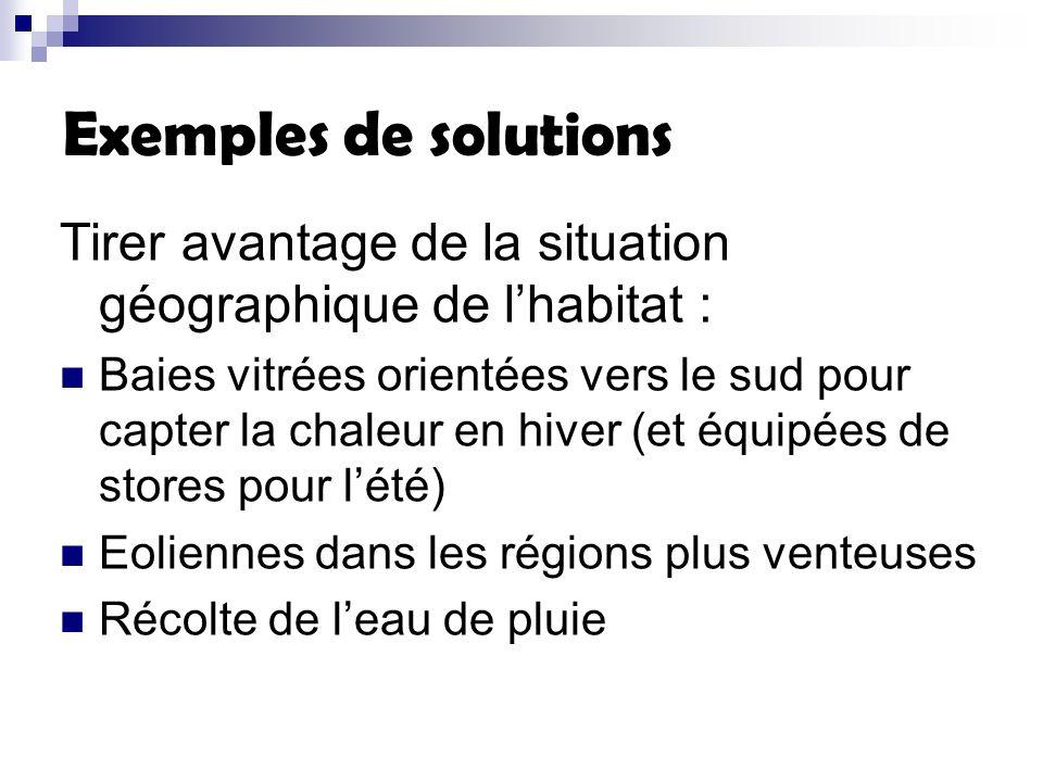 Exemples de solutions Tirer avantage de la situation géographique de l'habitat :