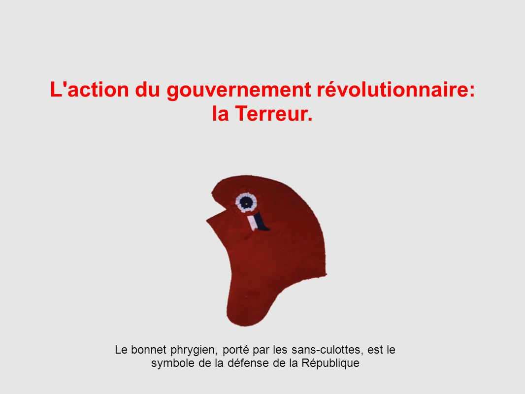 L action du gouvernement révolutionnaire: la Terreur.