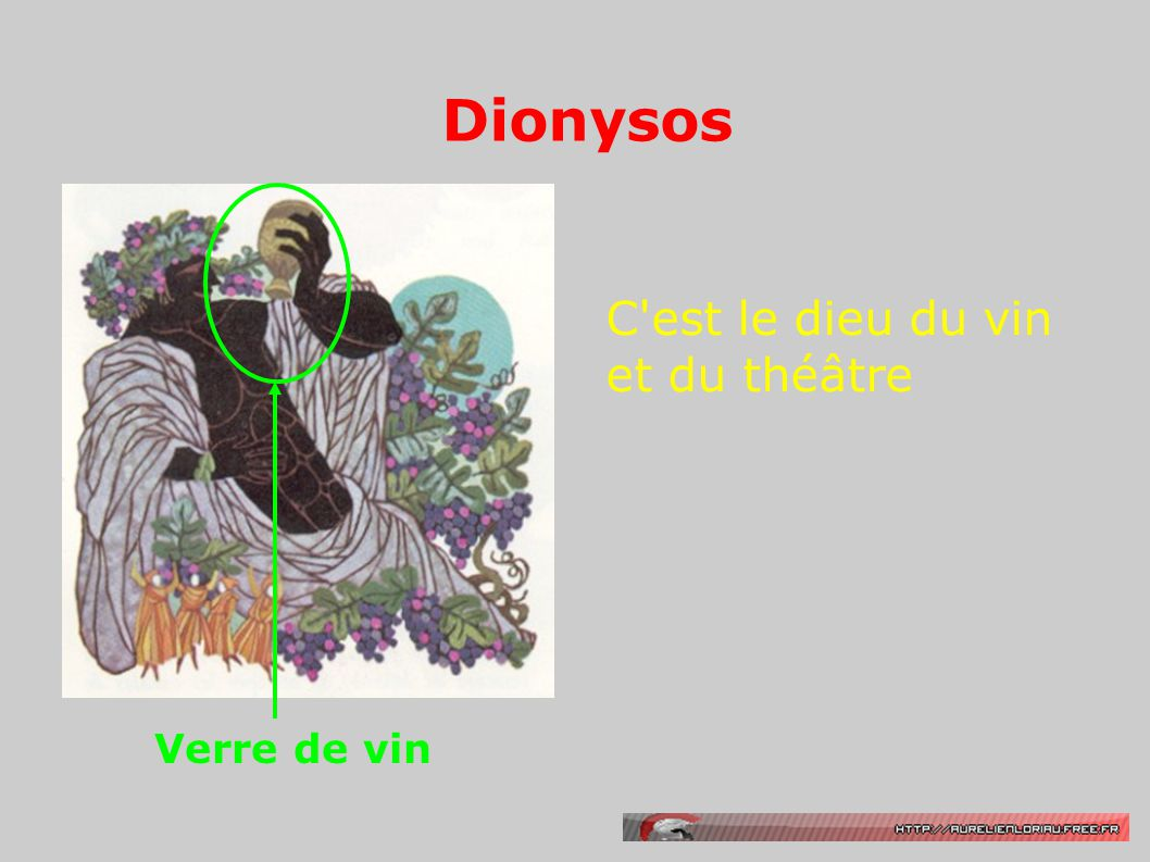 Dionysos Verre de vin C est le dieu du vin et du théâtre