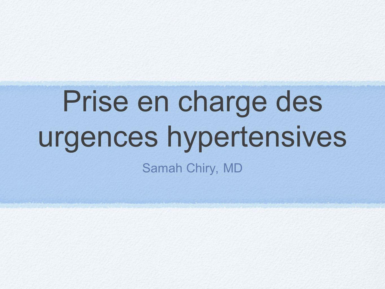 Prise en charge des urgences hypertensives